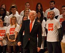 Vice President Joe Biden standing in front of a group of SU students